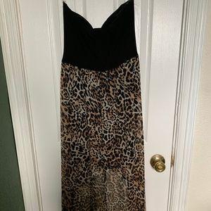 High Low Sweetheart Leopard Dress